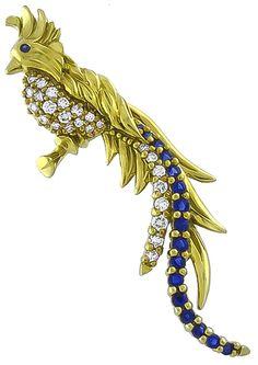 1.00ct Diamond 1.00ct Sapphire Bird Pin