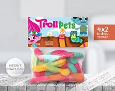 """INSTANT DOWNLOAD, Trolls Label bag, Treat Bag Toppers Trolls, Trolls Hair, Trolls Theme, Trolls Party, Trolls Favor labels, Birthday Party. This listing includes 1 high-resolution PRINTABLE PDF FILE and JPG FILE of Treat Bag Toppers on a standard 8.5"""" x 11"""" document (letter size)."""