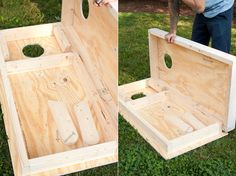 Their cornhole game nests together.  Add latches and a handle, and that's some portable magic.
