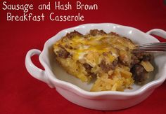 Great breakfast casserole made with sausage, eggs, cheese and hash browns.