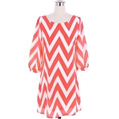 Coral Chevron Dress by LemniscateAddict