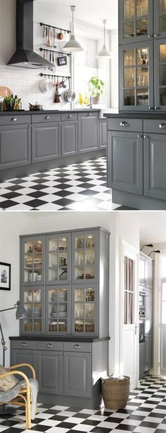 New Kitchen Grey Cabinets Ikea Cupboards Ideas Grey Kitchen Cabinets, Kitchen Redo, Kitchen Flooring, Kitchen Remodel, Grey Cupboards, Kitchen Ideas, White Cabinets, Kitchen Black, Kitchen Shelves