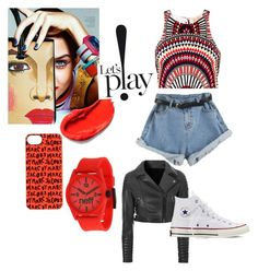 """""""red play"""" by ntimarkuxxx on Polyvore featuring Mara Hoffman, Marc by Marc Jacobs, Neff, Glamorous and Converse"""