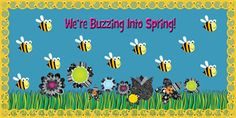 We're Buzzing Into Spring! | Bulletin Board Idea. Using CTP's new Honeycomb Jumbo Stencil-Cut Border, Bee Cut-Outs and BW Flower Cut-Outs. Love the brightness!
