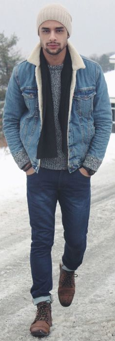 Marry a blue denim jacket with navy slim jeans to effortlessly deal with whatever this day throws at you. Polish off the ensemble with brown suede casual boots.   Shop this look on Lookastic: https://lookastic.com/men/looks/denim-jacket-crew-neck-sweater-skinny-jeans/15372   — Beige Beanie  — Black Scarf  — Grey Crew-neck Sweater  — Blue Denim Jacket  — Navy Skinny Jeans  — Brown Suede Casual Boots
