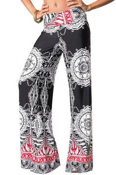 Sexy Fold Over Waist Wide Leg Black Red Tribal Print Palazzo Yoga Pants