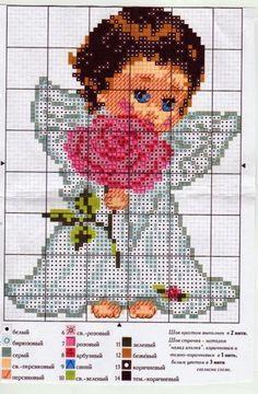 Hobby lavori femminili - ricamo - uncinetto - maglia: angelo con rosa punto croce