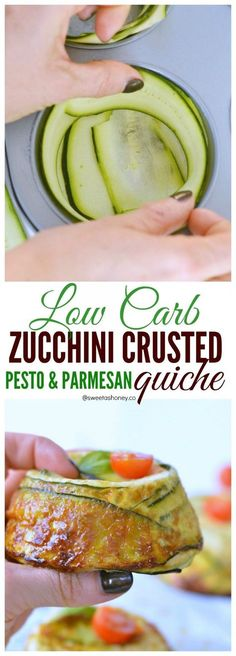 Pesto & Parmesan Zucchini Crustless quiche Uising Zucchini Ribbon as a Crust! Easy & healthy muffin tins recipe. NO flour, a delicious clean dinner or low carb on the go breakfast.