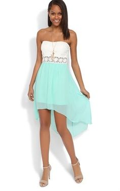 Deb Shops #Mint Strapless #Dress with Open Lace Waist and Chiffon High Low Skirt $35