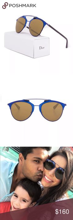 f623b4cf15ef Dior Blue Reflected Sunglasses Great condition! Comes with box, case and  cleaning cloth 100