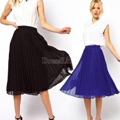 Fashion New Women Chiffon Double Layer Pleated Retro Long Maxi Dress Elastic Waist Skirt hot
