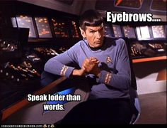Eyebrows speak louder than words. In Spock's case, they definitely do. (Star Trek)