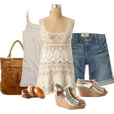 Lace/blue jeans for summer | Polyvore