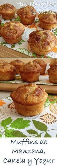 Apple, cinnamon and yogurt Muffins Mexican Food Recipes, Sweet Recipes, Cake Recipes, Dessert Recipes, Pan Dulce, Cakes And More, Cupcake Cakes, Bakery, Food And Drink