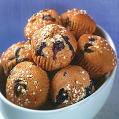 Make this for your next brunch: Whole Wheat Blueberry Muffins. At only 70 calories per serving, they're sure to be a hit!