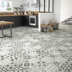 A kitchen with a gray and white cement tile version Source by GwladysGrn Bathroom Tile Inspiration, Creative Bathroom Design, Cement Tile Floor, Modern Kitchen, Home Decor, Cement Tile, Bathroom Design Layout, Contemporary Rug, Kitchen Design