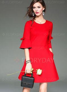 Red Flare Sleeve Cotton A-line Dress - textile Simple Dresses, Cute Dresses, Casual Dresses, Short Dresses, Skater Dresses, Office Dresses, Women's Fashion Dresses, Dress Outfits, Fashion Clothes