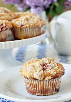 Currently baking these...and boy do they look and smell delicious!!  The Galley Gourmet: Strawberry Streusel Muffins
