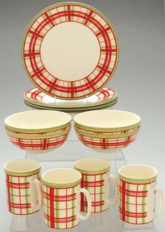 Lenox China Holiday Gatherings-Plaid 12-Piece Dinnerware Set