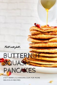 There's nothing like waking up and making a huge stack of butternut squash pancakes on a crisp fall morning! Sweet, savory, delicious breakfast food. #fall #pancakes