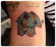Origami Elephant Tattoo by Leah Kramer at Mind's Eye Tattoo in Emmaus, Pennsylvania. Origami Tattoo, Origami Elephant Tattoo, Elephant Tattoo Design, Elephant Tattoos, Trendy Tattoos, Love Tattoos, Beautiful Tattoos, Body Art Tattoos, New Tattoos