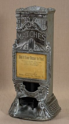 "Specialty No. 1 Advertiser. Specialty Mfg. Co., c. 1910's (I think), 13 1/2"". Match dispenser. Vending machine. Small Vintage Vending"