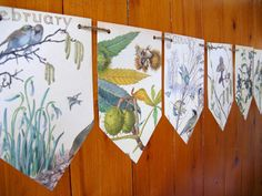 Wedding Decor Paper Garland, Country Diary Edwardian Lady, Autumn Winter Bunting £8.75