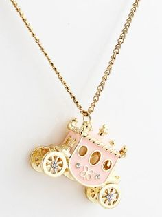 Pink and Gold Vintage Carriage Necklace Cute Jewelry, Jewelry Box, Jewelry Accessories, Jewelry Necklaces, Bracelets, Vintage Necklaces, Bling Bling, Pinterest Jewelry, Cute Necklace