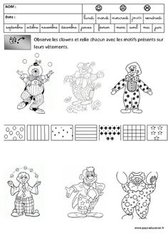 Clowns - Discrimination visuelle - Carnaval – Maternelle – Grande section – GS – Cycle 2 - Pass Education