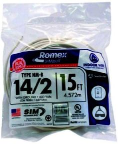 Southwire 28827426 15-Feet 14-Gauge 2 Conductors 14/2 with Ground Type NM-B Romex SIMpull Indoor Building Wire, White Outer Jacket by Southwire. Save 28 Off!. $8.29. From the Manufacturer                14-Gauge, 2 Conductor, with Ground, Nonmetallic-Sheathed Cable with Color-Coded patented SIM Technology No Lube jacket designed for easier pulling. Southwire's Romex SIMpull Type NM-B cable is manufactured as 2, 3, or 4 conductor cable, with a ground wire. Copper conductors are annealed…