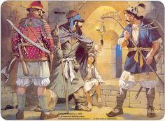 1400 c. Timur's infantry, c.1400: 1. Armoured infantryman 2. Unarmoured lantern-bearer 3. Dervish or Qalandar