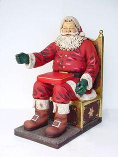 Santa on Throne life size/levensgroot/kerstfiguren-kerstdecoratie Christmas Balls, Xmas, Pop Art Decor, Ronald Mcdonald, Red And White, Religion, Geek Stuff, Christmas Decorations, Santa