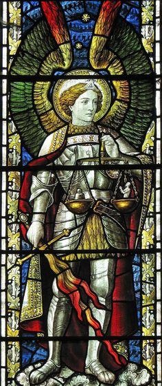 Michael St Michael is here depicted as one who holds the scales of justice/ righteousness.St Michael is here depicted as one who holds the scales of justice/ righteousness. Stained Glass Church, Stained Glass Angel, Stained Glass Windows, Catholic Art, Religious Art, Kunst Online, I Believe In Angels, Angels And Demons, Angel Art