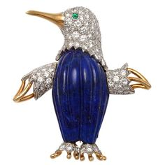 TIFFANY and CO. Penguin Gold Lapis And Diamond Brooch