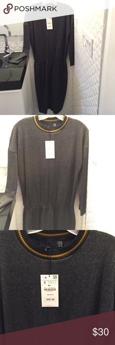 NWT Zara maxi dress Super comfy charcoal sweater dress. Elastic waist. I ordered a size small which it says on the price tag but  the tag on dress says medium. Zara Dresses Maxi