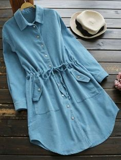 Amazing, Awesome, Bitching, Sick Fashions Drawstring Corduroy Shirt Dress - Lake Blue M you can find similar pins below. We have brought the best of t. Girls Fashion Clothes, Teen Fashion Outfits, Trendy Outfits, Stylish Dresses, Casual Dresses, Pakistani Dresses Casual, Stylish Dress Designs, Mode Jeans, Kurta Designs Women