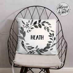 Personalized Name Pillow, Custom Name Cushion, Baby Boy Gift, Black Leaves, Nursery Throw Pillow, Personalized Baby Gift, Baby Shower Gift,
