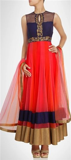 404597, Party Wear Salwar Kameez, Net, Stone, Bugle Beads, Sequence, Red and Maroon Color Family