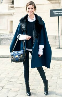 Trending #Style at #FW2014 #FashionWeeks: Model off-duty in navy cape coat street styleduringFall Winter 2014 PFW.