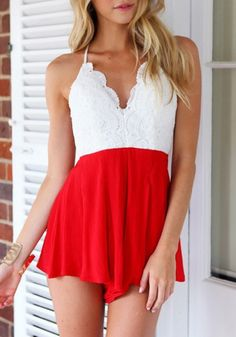 Red & White Lace Romper- Jumpsuits and Rompers. Discover and shop the latest women fashion, celebrity, street style you love on www.zkkoo.com