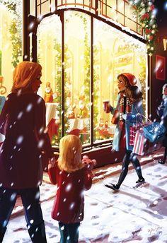 It's In The Air, an art print by Yaoyao Ma Van As Christmas Drawing, Christmas Art, Christmas Landscape, Christmas Windows, Girl Cartoon, Cartoon Art, Christmas Illustration, Illustration Art, Alone Art