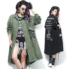This sold fast the last time we had this in stock now it is back again Army Green Women ... Check it out here ! http://mamirsexpress.com/products/army-green-women-long-trench-coat-with-rivet-and-patch-designs-loose?utm_campaign=social_autopilot&utm_source=pin&utm_medium=pin