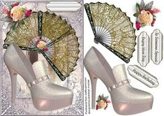 Lovely Gold Fans With Stunning silver shoes  on Craftsuprint - Add To Basket!