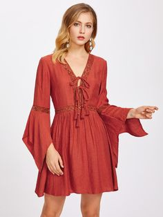 Lace Insert Tassel Tie Front Bell Sleeve Dress -SheIn(Sheinside) - Lace Insert Tassel Tie Front Bell Sleeve Dress -SheIn(Sheinside), Source by - Sun Dress Casual, Casual Dresses, Floral Dress Outfits, Fashion Dresses, Modest Dresses, Fall Dresses, Spanish Dress, Spanish Costume, Bell Sleeve Dress