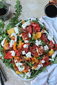 Caprese Salad with Crispy Prosciutto - The Secret Ingredient Is - Food and Drinks - teig Caprese Salat, Caprese Salad Recipe, Salad Recipes, Healthy Recipes, Healthy Meals, Prosciutto, Chrissy Teigen Recipes, Main Dish Salads, Dinner Salads