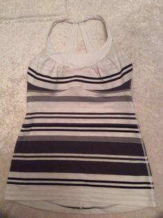 Lululemon 6 Fitness Tank Black White Striped Bra Top Yoga Running #Lululemon #ShirtsTops
