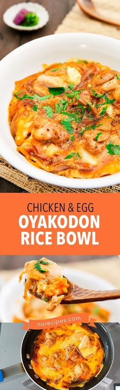 Make Japanese Oyakodon (親子丼), or chicken and egg rice bowl like a pro with this easy recipe. With tender pieces of chicken and sweet onions simmered in a sweet and savory dashi broth, the mixture is thickened with egg and served on a bed of hot rice. #japanesefood #ricebowl #chickenrecipe