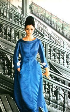 Royal blue silk evening gown by Givenchy, 1962