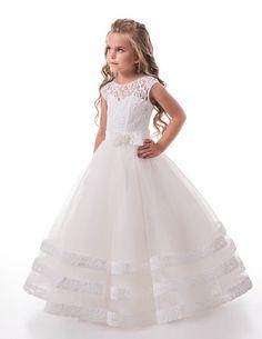 Custom Made Vintage Audrey Hepburn Inspired Tulle Lace Flower Girl Dress First Holy Communion Dress Wedding Bride Groom Junior Bride