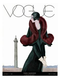 Vogue Cover - October 1929 by Georges LePape. Print from Art.com, $157.00
